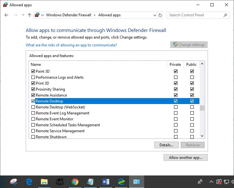 Allow remote desktop from firewall settings