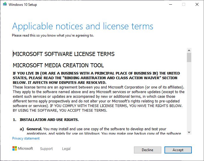 Media creation tool License terms