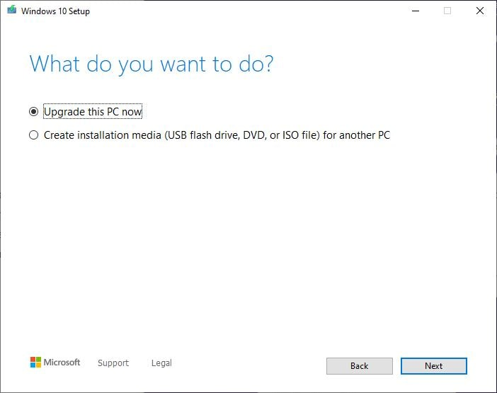 Media creation tool upgrade this PC now