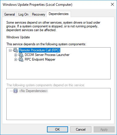 windows update dependencies service