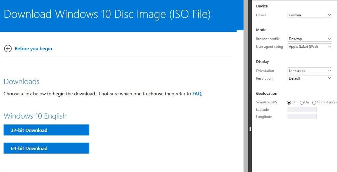 Download Windows 10 ISO with Microsoft Edge