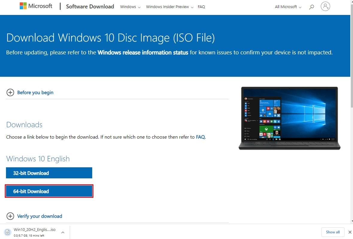 Download windows 10 ISO from Microsoft